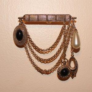Vintage Dangle Bar Pin Brooch - 1980s